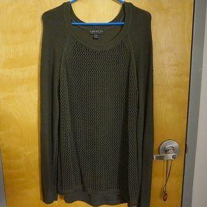 Sheer net olive green sweater